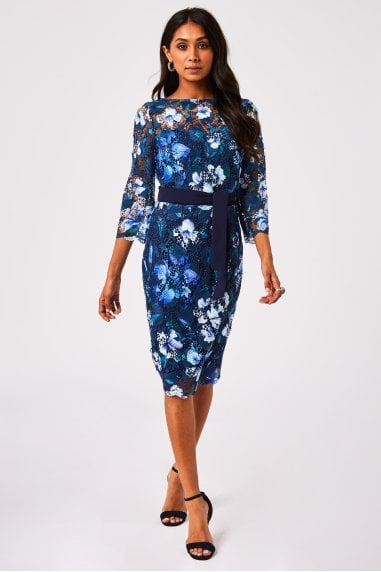 Nuoro Navy Floral-Print crochet lace Midi Dress