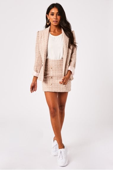 Istana Blush Boucle Pearl Detail Double-Breasted Blazer Co-ord