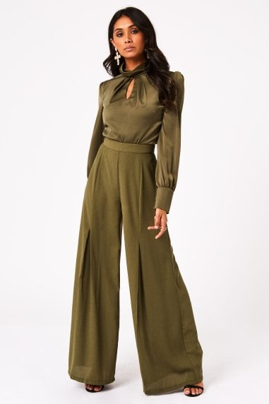 Calabria Khaki Box Pleat Wide-Leg Trousers Co-ord