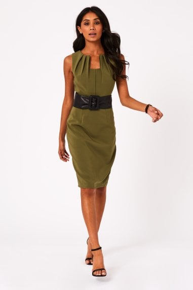 Lauro Khaki Belted Pencil Dress
