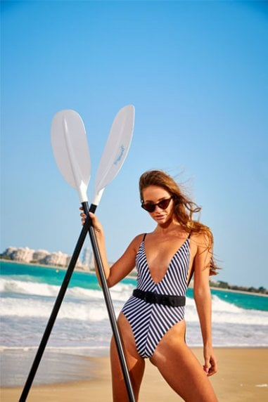 Stripe Belted Plunge Swimsuit