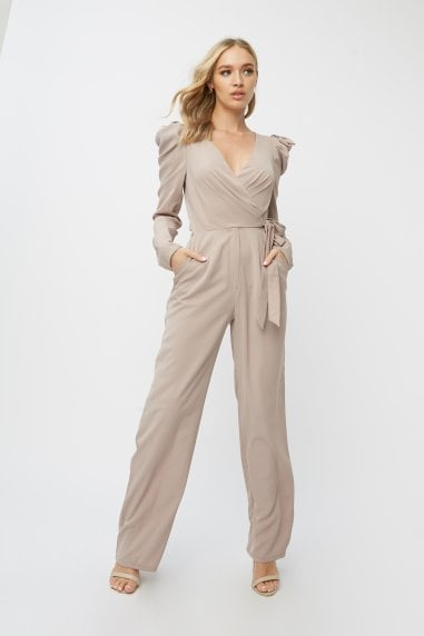 Leonora Oyster Puff Sleeve Wrap Jumpsuit