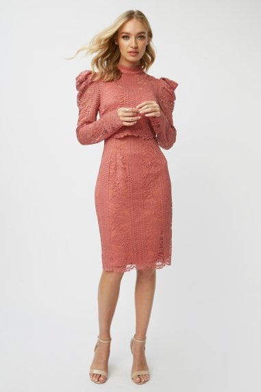 Corrina Desert Rose Lace Bodycon Dress