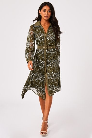 Arzana Khaki Lace Check Belted Midi Shirt Dress