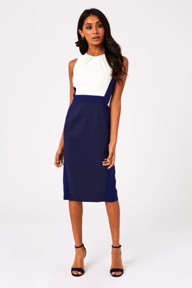 Cabra Navy Colour Block Midi Pencil Dress