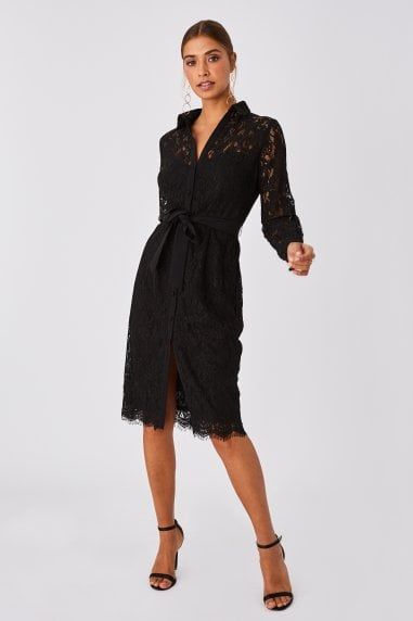 Grosvenor Black Lace Midi Shirt Dress