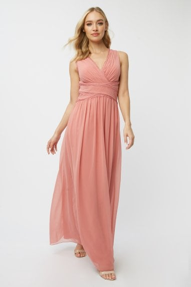 Bridesmaid Corrina Desert Rose Lace-Trim Maxi Dress