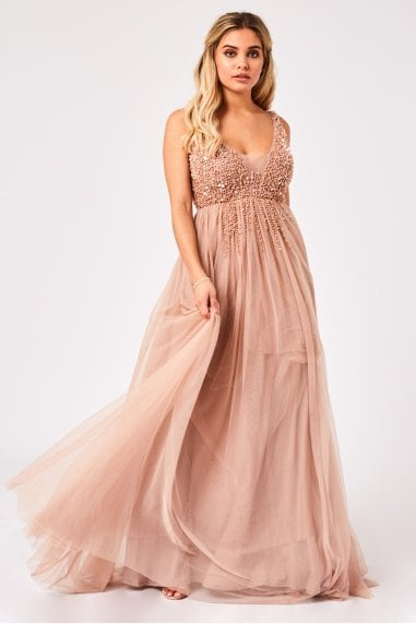 Issey Mink Hand Embellished Tulle Maxi Dress