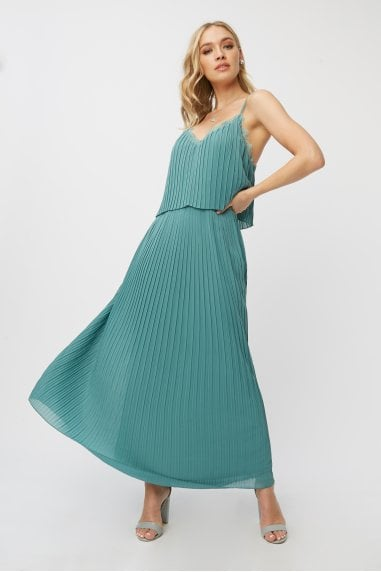 Bridesmaid Layla Nile Blue Pleated Maxi Dress