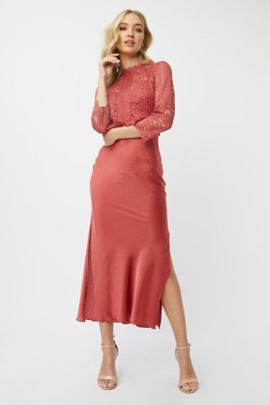 Luisa Marsala Lace Midaxi Dress