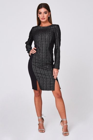 Osiris Black Metallic Stripe Jacquard Illusion Dress