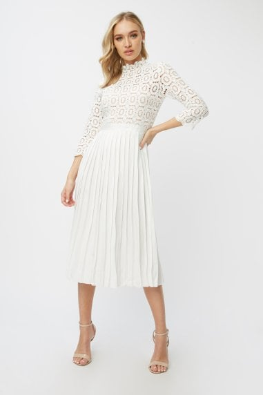 Alice White Crochet Top Mini Dress With Pleated Skirt