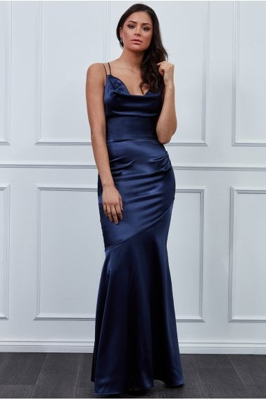 Vicky Pattison Navy Cowl Neck Strappy Back Maxi Dress