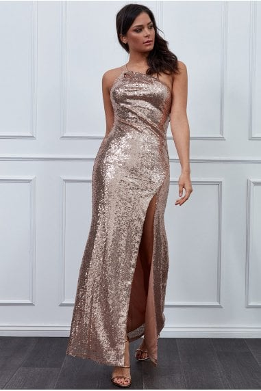 Vicky Pattison Champagne One Shoulder Sequin Maxi Dress