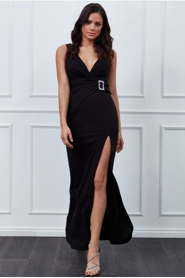 Vicky Pattison Black Buckle Front Maxi Dress