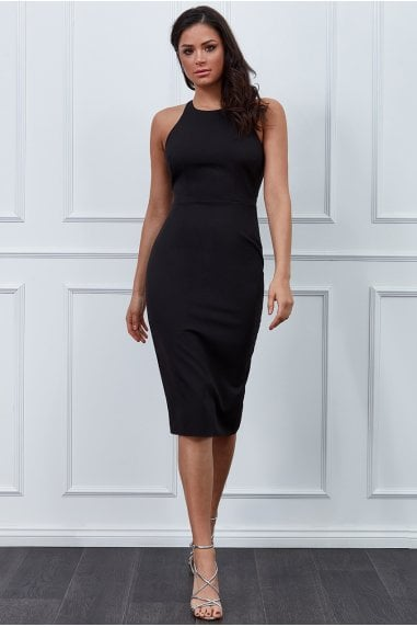 Vicky Pattison Black Bow Back Midi Dress