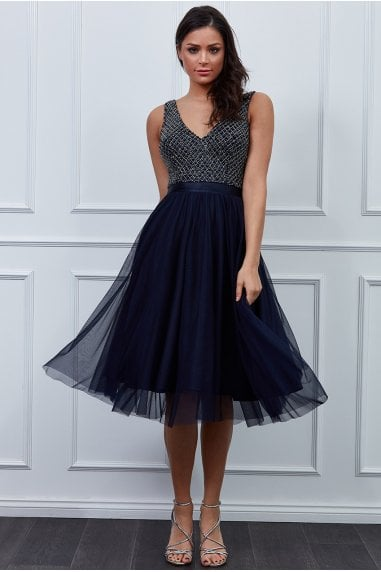 Navy Sequin Bodice Pleated Midi Dress