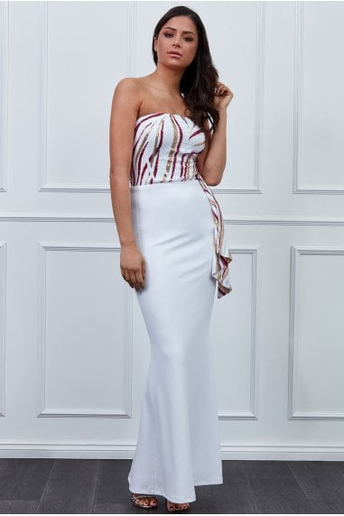 Sequin Bandeau Maxi Dress