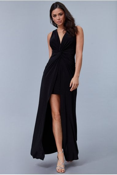 Black Knot Front Sleeveless Maxi Dress