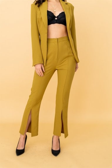Split Hem Cigarette Trousers in Olive