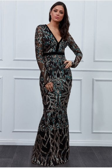 Goddiva Sheer Sleeve Sequin Maxi Dress - Emerald
