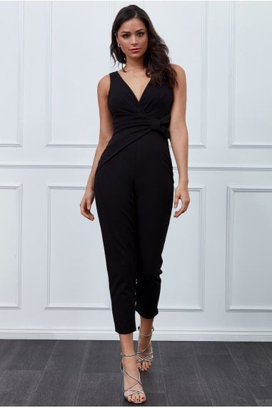 Vicky Pattison Black Buckle Plunge Jumpsuit