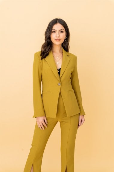 Notch Collar Single Breasted Blazer in Olive