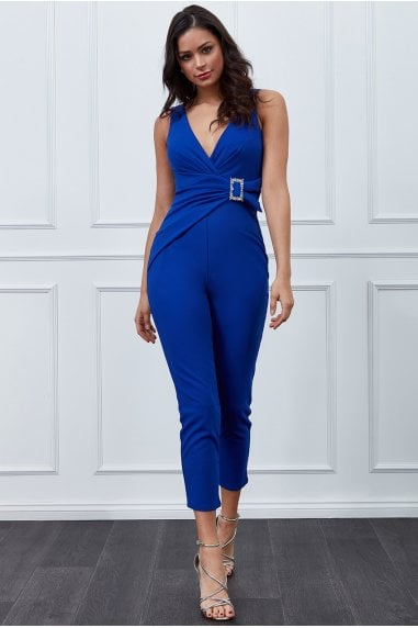 Vicky Pattison Royal Blue Buckle Plunge Jumpsuit