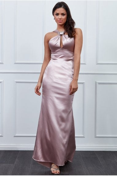 Vicky Pattison Blush Halter Neck Buckle Maxi Dress