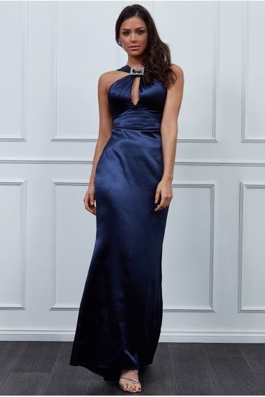 Vicky Pattison Navy Halter Neck Buckle Maxi Dress