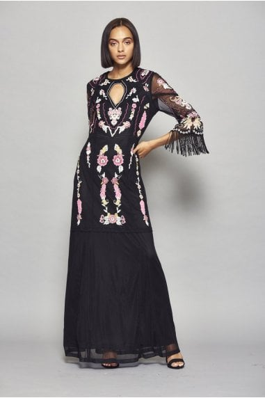 Gianna Embroidered Flare Sleeve Maxi Dress