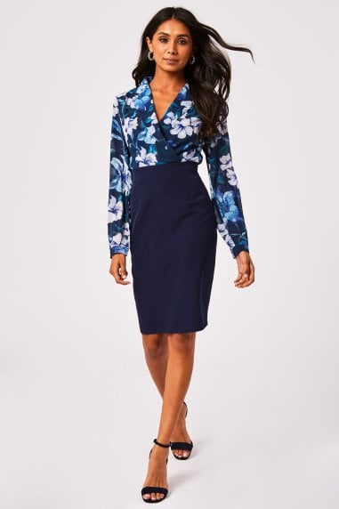 Cervo Navy Floral-Print Mock Wrap Pencil Dress