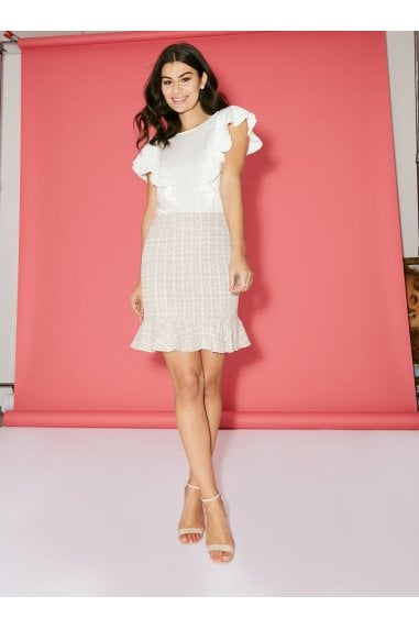 Malta Blush Boucle Peplum Mini Skirt Co-ord
