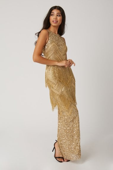 Gala Gold Fringed Flapper Maxi Dress