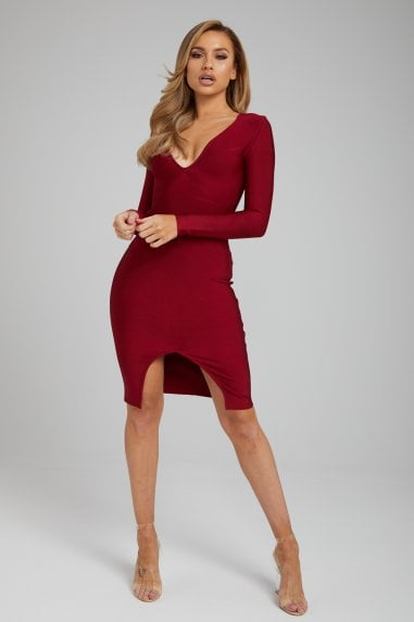 The 'Sienna' Burgundy Long Sleeve Bandage Dress