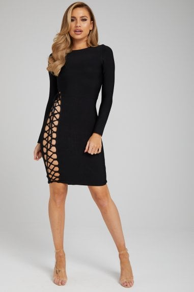 The 'Marjorie' Black Long Sleeve Cut-Out Bandage Dress