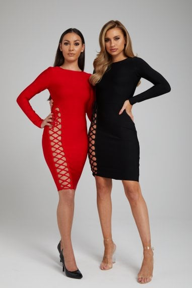 The 'Marjorie' Red Long Sleeve Cut-Out Bandage Dress
