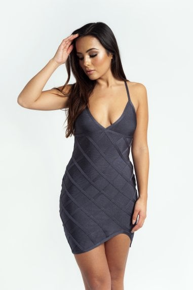 The 'Delyla' Strappy Bandage Mini Dress in Grey