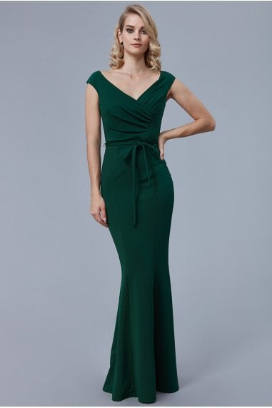 Emerald Pleated Tie Detail Maxi Dress