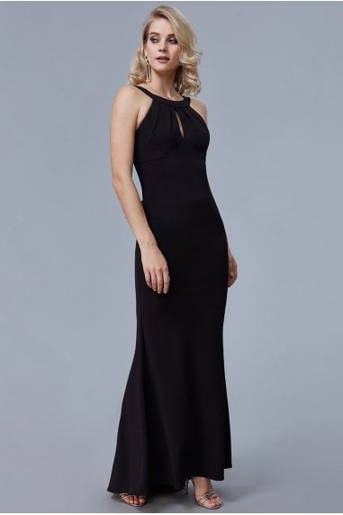 Black Halter Open Back Frill Detail Maxi Dress
