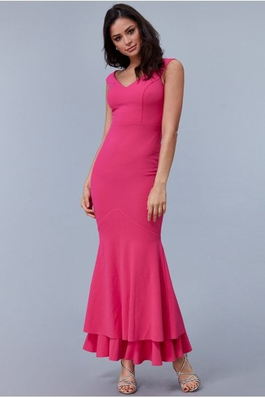 Cerise Double Hem Frill Maxi Dress