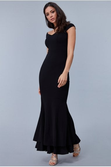 Black Double Hem Frill Maxi Dress