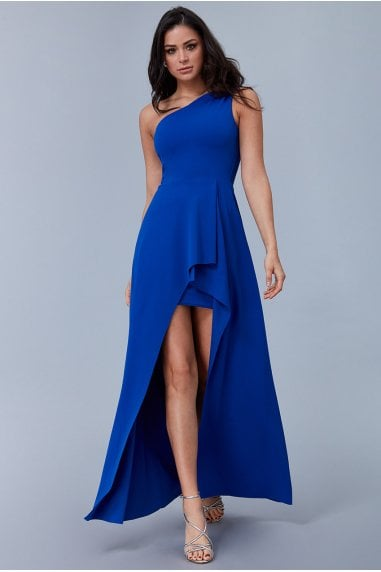 Royal Blue One Shoulder High Leg Maxi Dress