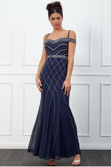 Off the Shoulder Embroidered Sequin Maxi Dress - Navy