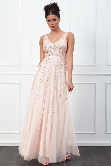 Blush Sunray Sequin Maxi Dress