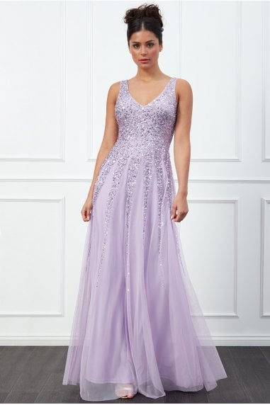Sunray Lavender Sequin Maxi Dress