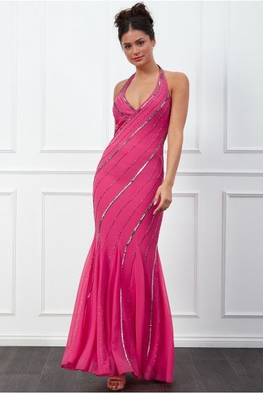 Goddiva Sequin Halter Neck Maxi Dress - Cerise
