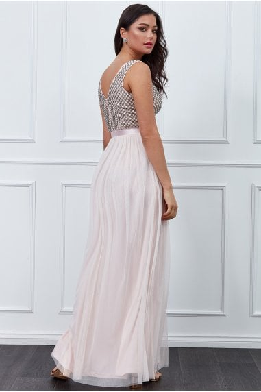 Blush Sequin Bodice Pleated Maxi Dress