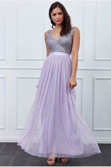 Lavender Sequin Bodice Pleated Maxi Dress