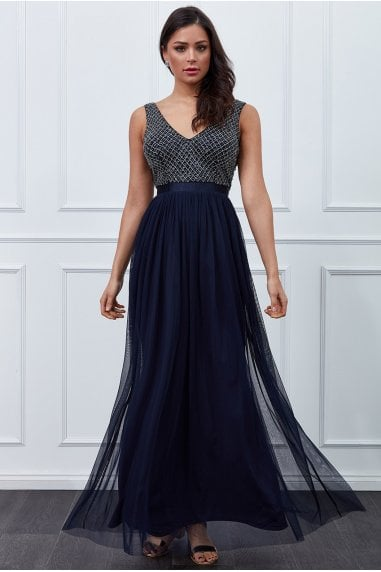 Navy Sequin Bodice Pleated Maxi Dress